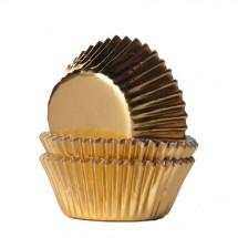 36 Cápsulas mini cupcakes doradas. HoM.