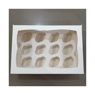 Caja 12 mini cupcakes blanca 3,5cm